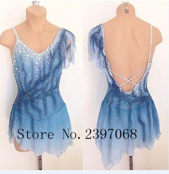 Ice Skating Dresses Women Competition Figure Skating Dress Custom Crystals Blue  Ice Skating Dresses Girls Clothes B25