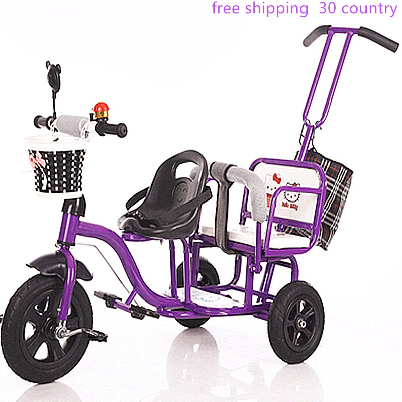 دراجة ثلاثية العجلات مزدوجة للأطفال ، دراجة مزدوجة للأطفال ، عربة أطفال كبيرة للذكور والإناث