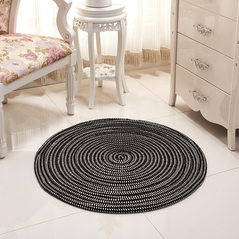 EHOMEBUY, nueva alfombra redonda, alfombra negra a rayas para decoración de Hotel en casa, alfombra redonda, alfombra plegable para sala de estar, Tatami, alfombra lavable