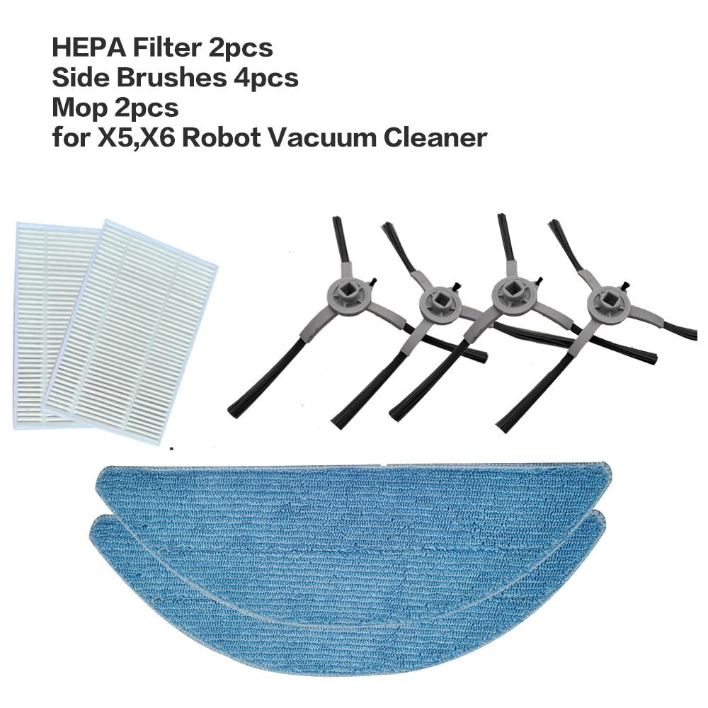 قطع غيار HEPA لمكنسة كهربائية روبوت X5 X6 ، فرشاة جانبية ، ممسحة