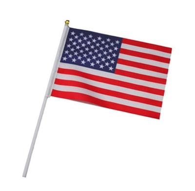 USA 10pcs the Small 14X21CM United States flag America hand flag flying USA hand national flag with Pole Handing flag