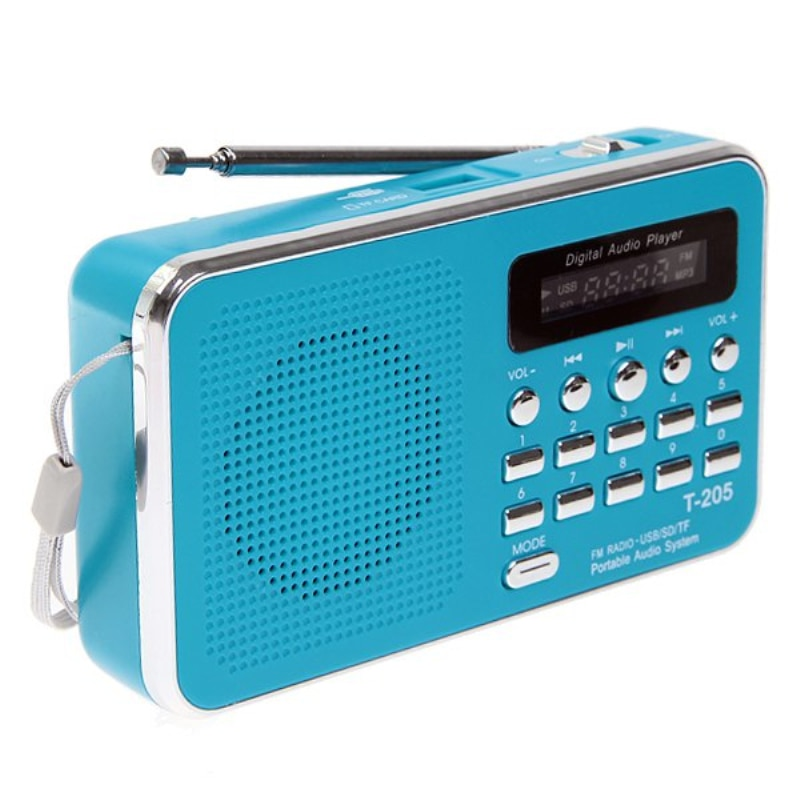 Hot Sale T-205 FM Radio Portable HiFi Card Speaker Digital Multimedia MP3 Music Loudspeaker White Camping Hiking Outdoor Sports