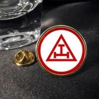 high quality triple tau cross masonic lapel pin badge new custom round metal lapel badge pin cheap custom metal badges