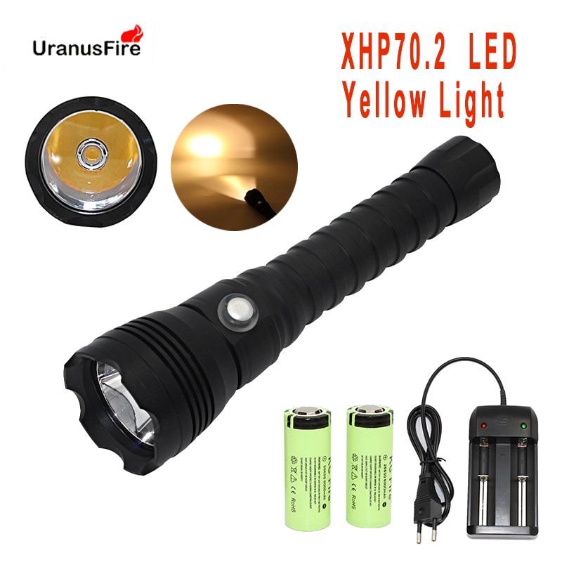 سوبر سطوع XHP70.2 LED الغوص مصباح يدوي ضوء أصفر 4000 لومينز التكتيكية الشعلة 26650 تحت الماء 100M xhp70 ضوء