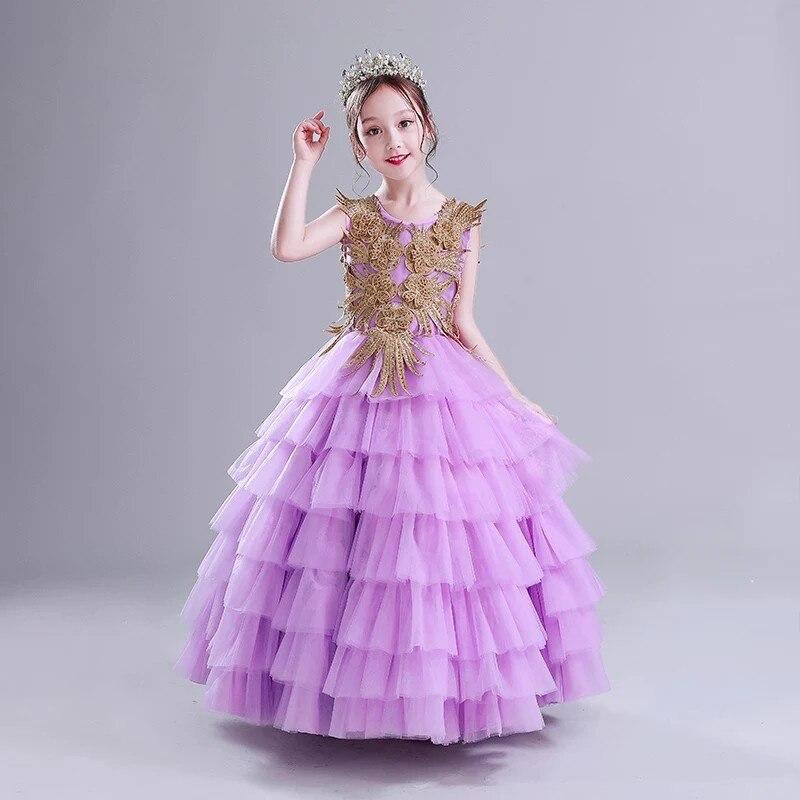 Children Girls Luxury O-neck Layered Dress For Birthday Party Teens Model Show Catwalk Long Princess Mesh Dress Evening Dress