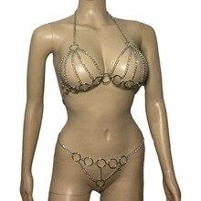 Femmes Sexy Fantacy métal enchaîné corps harnais haut ouvert poitrine licou soutien-gorge avec string Bondage fétiche Sexy Lingerie ensemble