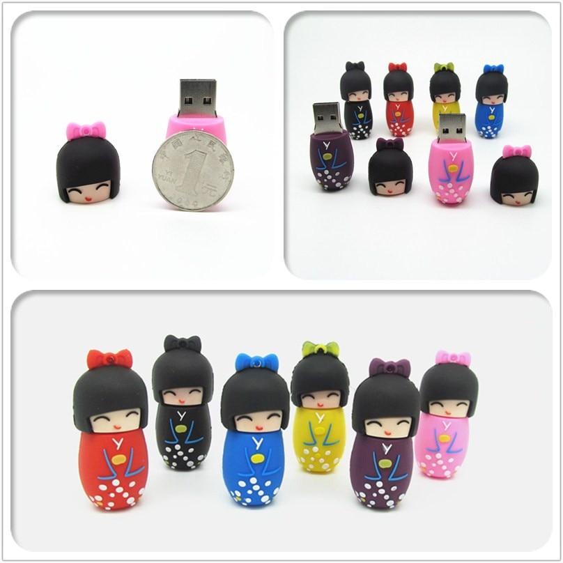 100% real capacity lovely Japanese Girl Geisha usb flash drive pendrive cute pen drive usb 2.0 4GB 8GB 16GB 32GB Fashion gift