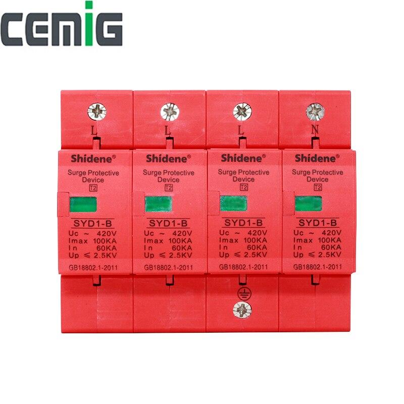 Cemig SYD1-B SPD 4P 100kA ~ 420VAC Haus Surge Protector Schutz Niedrigen-spannung Ableiter Gerät Blitzschutz