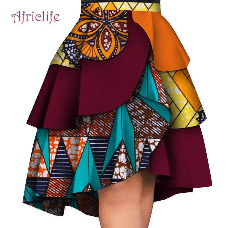 Nuevo diseño Mini falda Africana vestidos de impresión señora Sexy muchas capas vestido de moda de talla grande personalizado Dashiki vestido WY4406