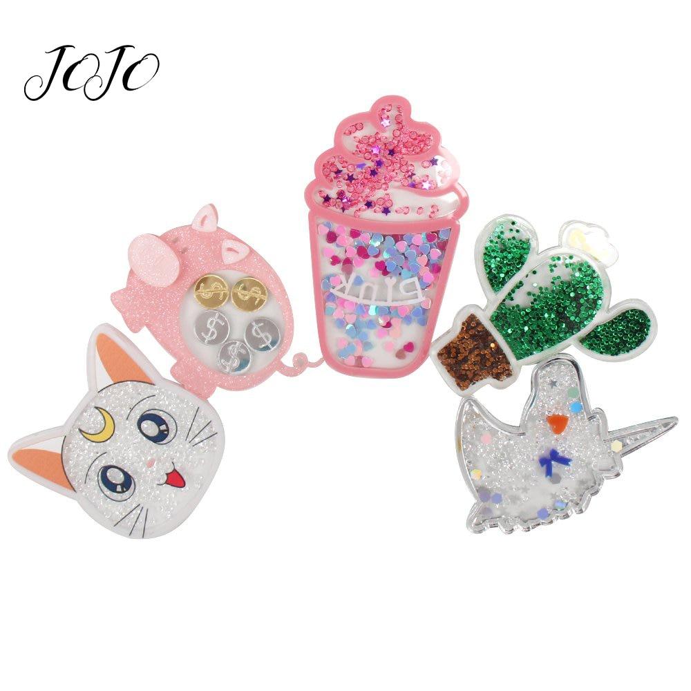 JOJO moños 1pc parches de resina de arena movediza para decoración de ropa Luna gato Cactus unicornio accesorios para adorno colgante artesanal hecho a mano