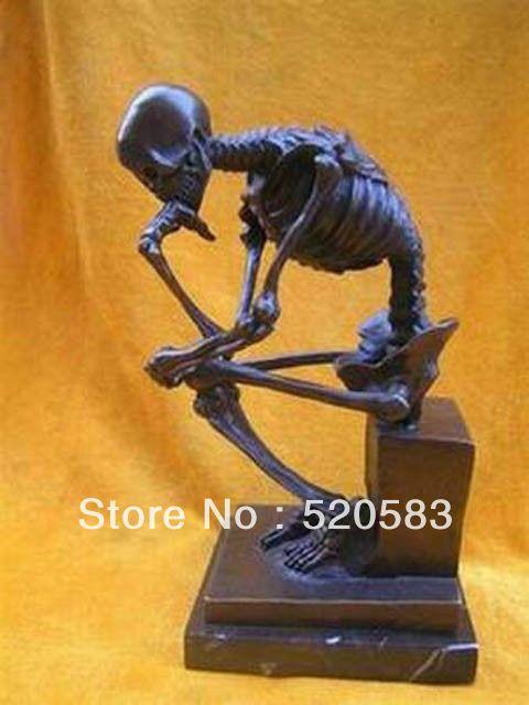 Maravillosa de Bronce Skull Pensador Estatua Escultura