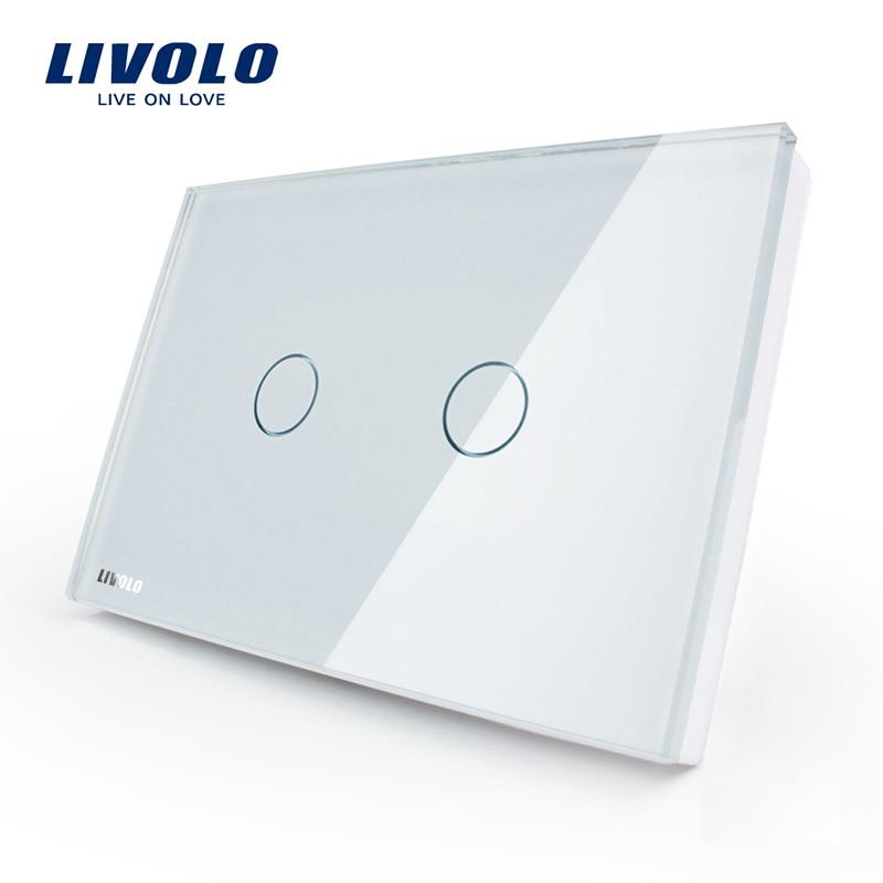 Производитель, LIVOLO настенный выключатель, 110 ~ 250 В, слоновая кость, серо-синий Стекло Панель, 2-банды, нам сенсорный светильник переключатель VL-C302-81 с Светодиодный индикатор