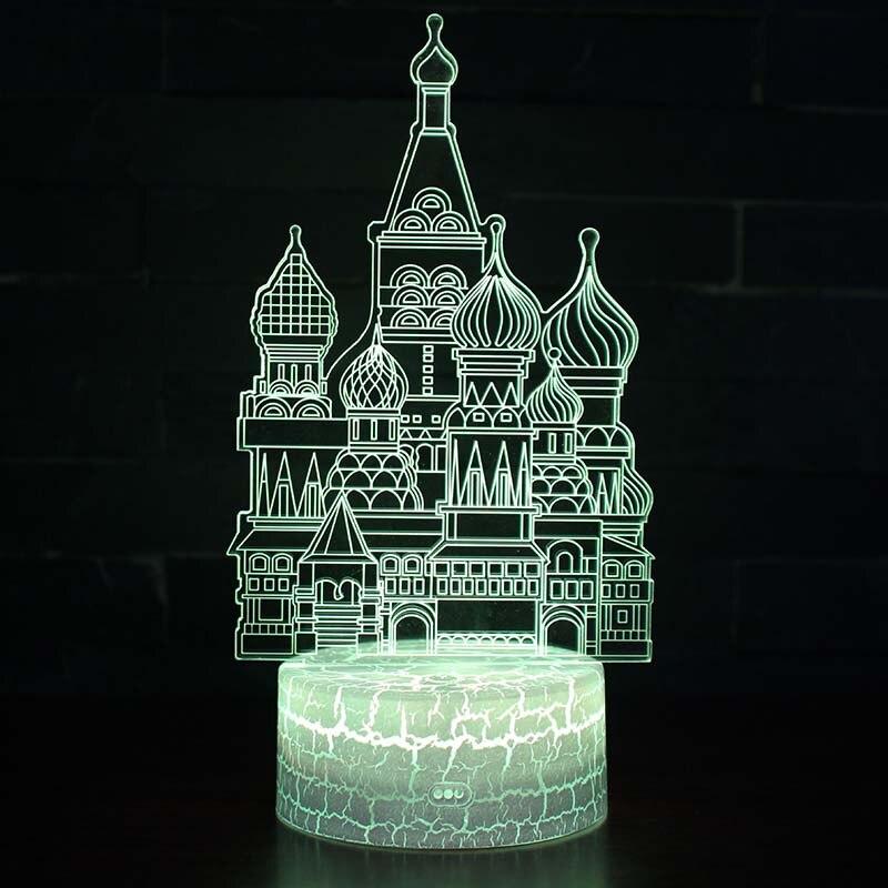 Edificio conocido ruso Kremlin de Moscú modelo ilusión 3D cambio de color LED lámpara Moscú Kremlin juguetes luminosos para niños