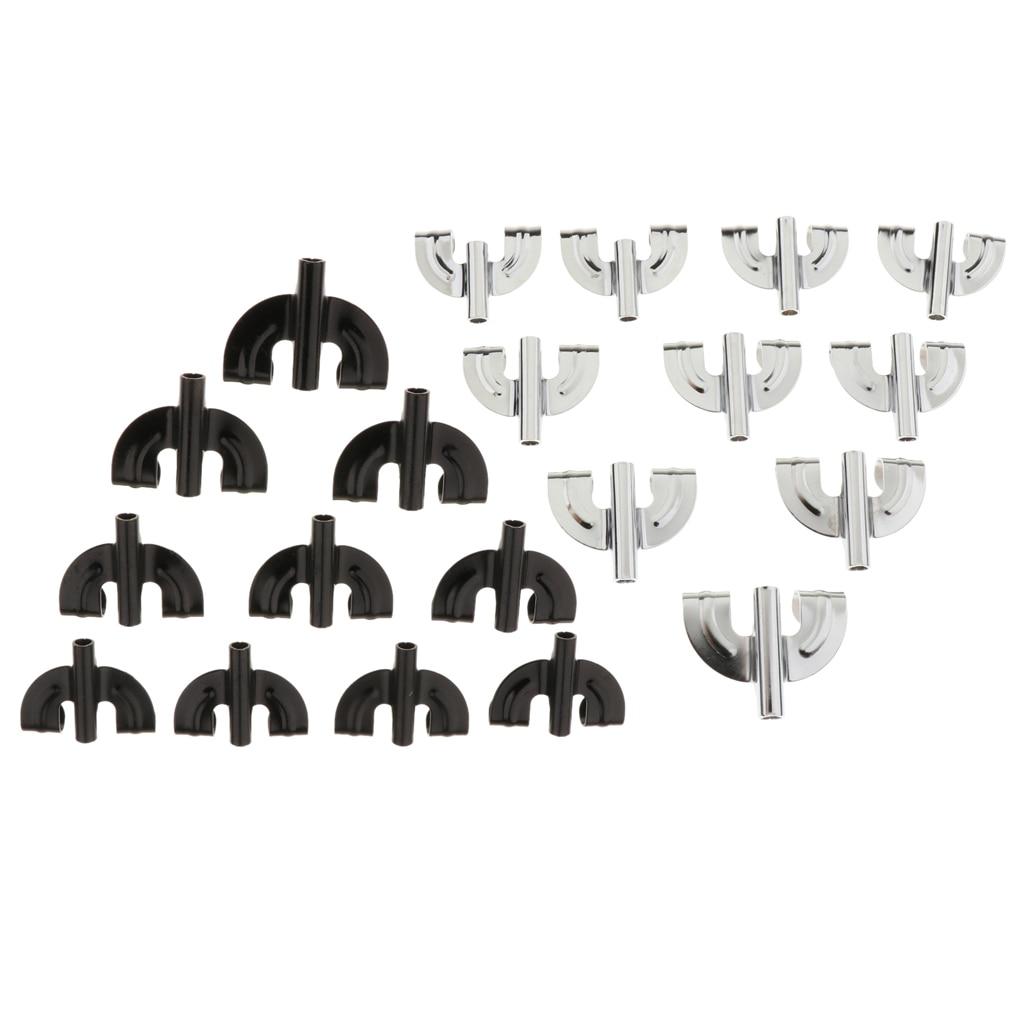 10 piezas de accesorios de instrumento de percusión de gancho de garra de tambor para bajo de tambor negro plateado
