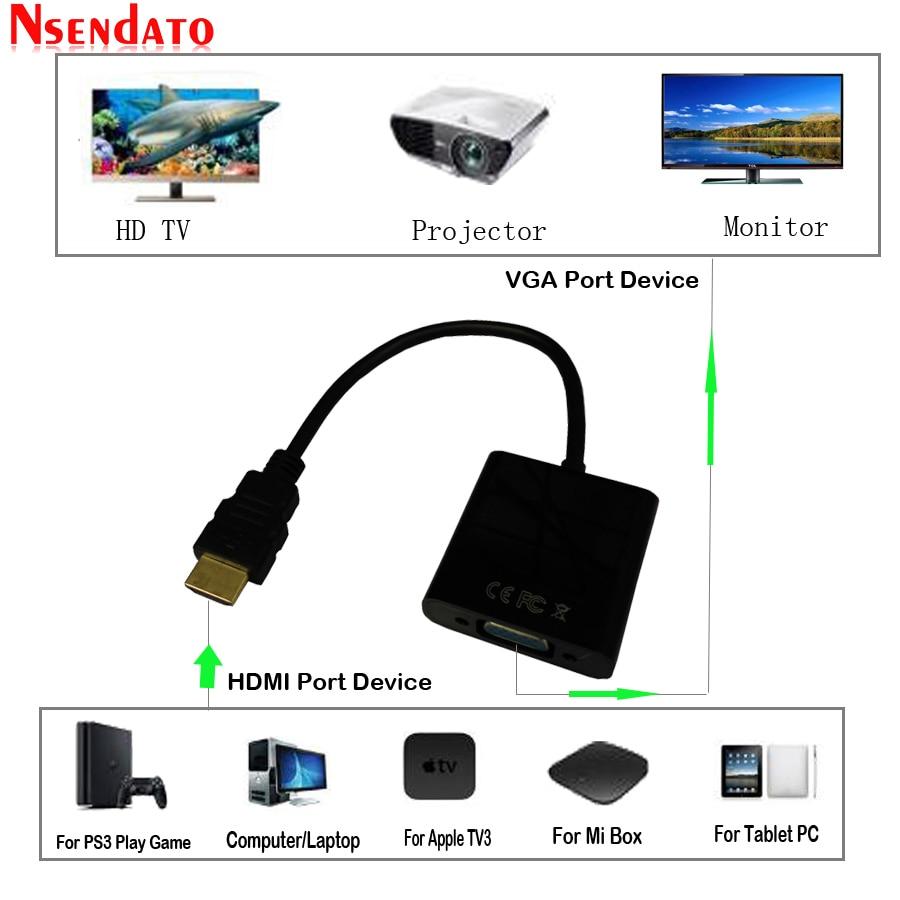 HDMI к VGA кабель адаптер цифро-аналоговый с аудио микро USB кабели HDMI VGA конвертер для XBOX 360 PS3/4 HDTV PC DVD TV Box