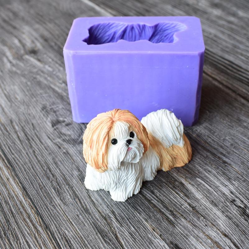 Lindo molde de silicona para perro Shih Tzu para moldes de Chocolate de arcilla polimérica para fiesta de cumpleaños de bebé Fondant pastel herramientas de decoración 18107