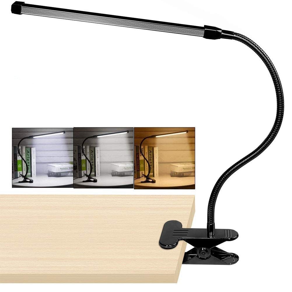 8 w led clipe na lâmpada de mesa com 3 modos 2 m cabo dimmer 10 níveis braçadeira lâmpada de mesa