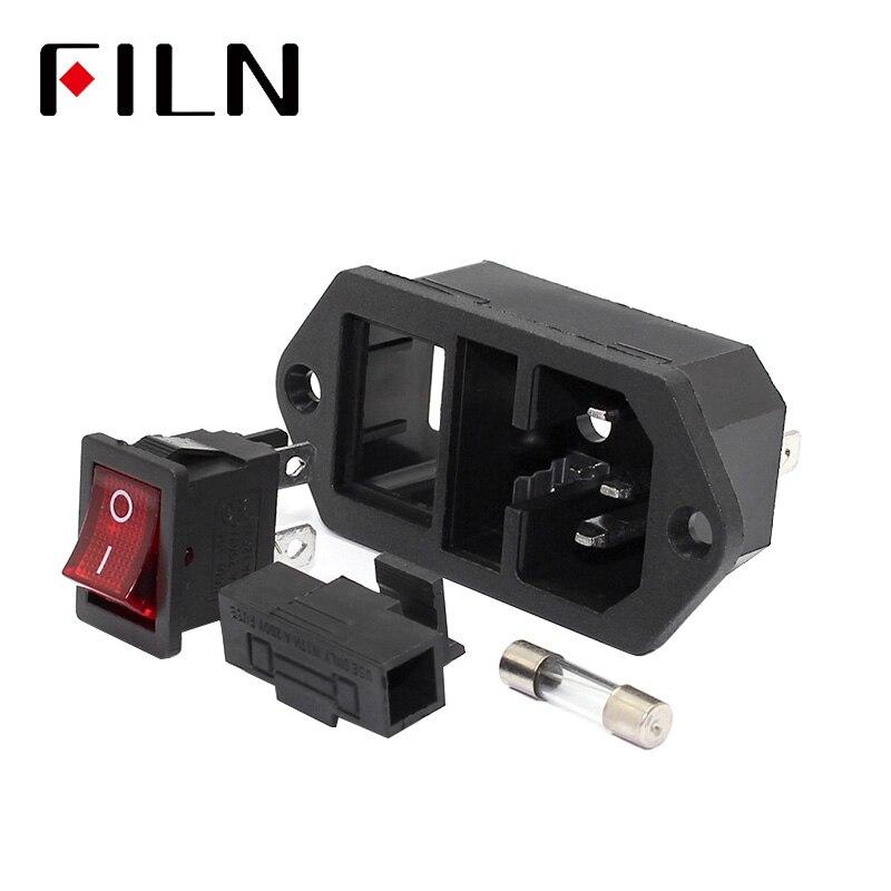 250 V lámpara roja interruptor basculante nuevo 3 Pin macho a hembra de alimentación de IEC320 C14 entrada macho conector 10A fusible de toma de