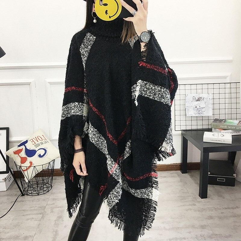 2018 Autumn 13 Colors Women Wool Plaid Cardigan Casual Style Turtleneck Tassel Cape Batwing Sleeve Knit Sweater