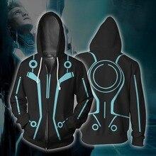 Sudadera con capucha para hombre y mujer, prenda deportiva Unisex con cremallera y estampado 3d de la película Tron Legacy, disfraces de Cosplay