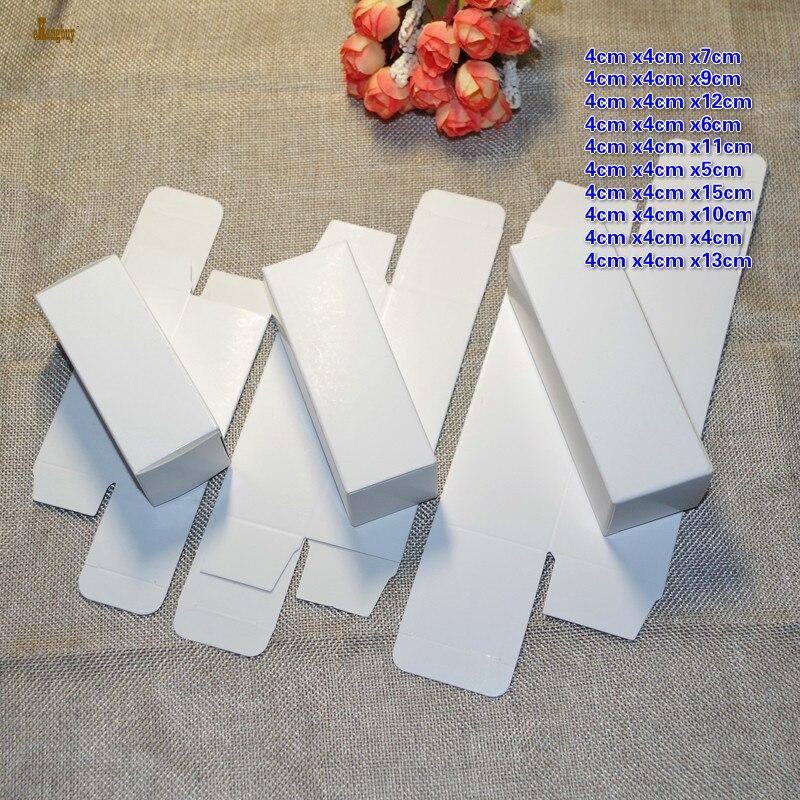 50 Uds. 4x4x4cm altura 21cm 10 tamaños 350gsm caja de papel de cartón blanco pintalabios Diy Perfume y botella de aceite embalaje cajas de embalaje
