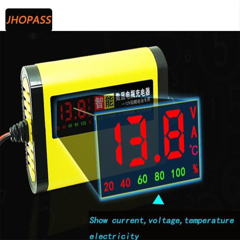 Cargador de batería de plomo y ácido inteligente con pantalla LCD de 12V y 2A para motocicleta/coche/batería de bicicleta eléctrica seca/agua/carga de batería de Gel de 4AH a 20AH