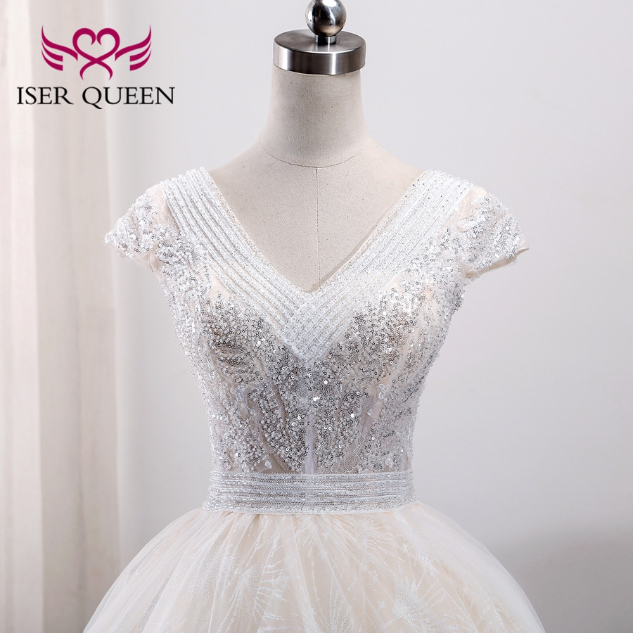 Short Sleeve V neck Embroidery Arab V neck Heavy Beading Europe Fashion Wedding Dress  Wedding Gown Robe De Mariee WX0003