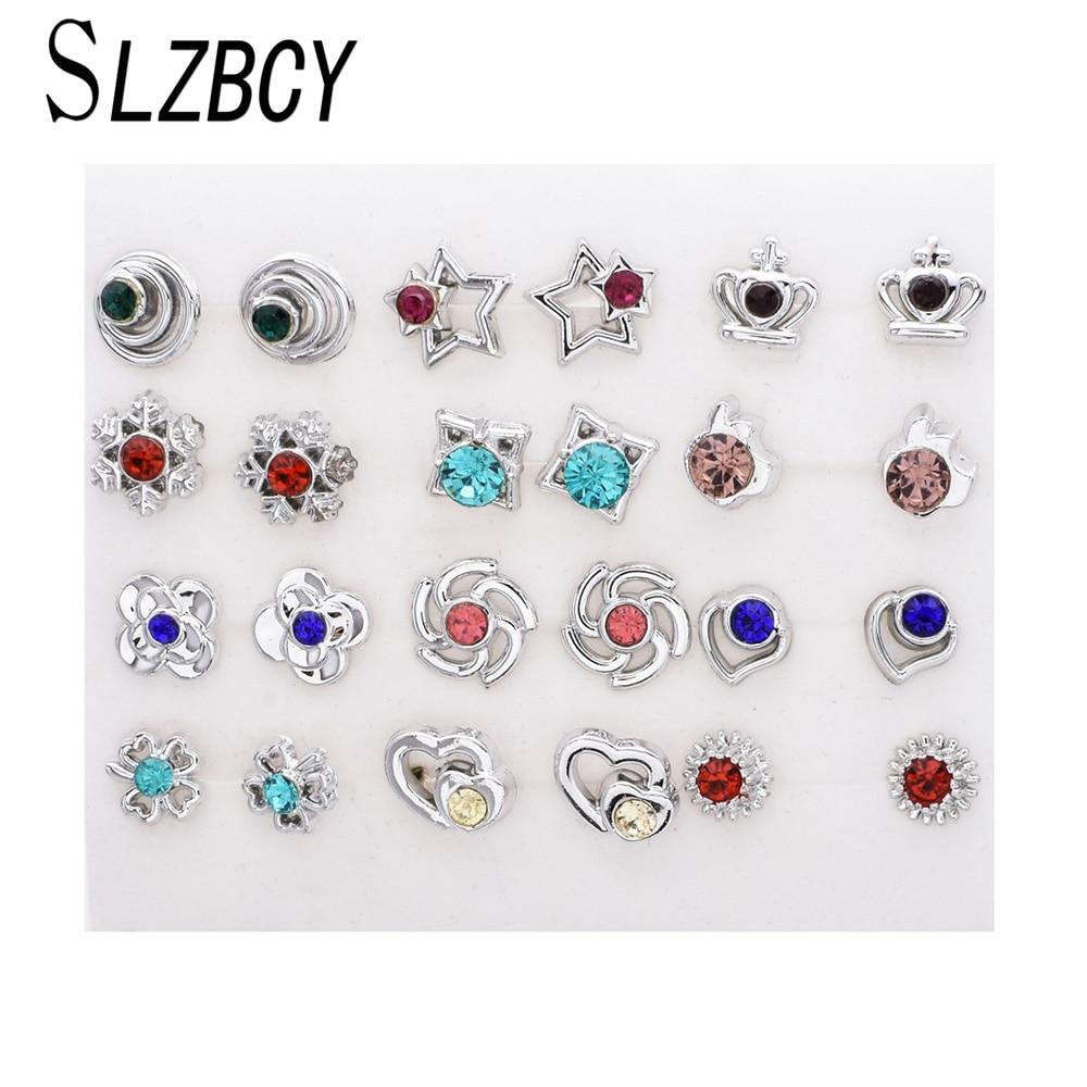 SLZBCY conjuntos de pendientes pequeños de cristal bonitos para mujeres, pendientes de botón para niñas y niñas, pendiente de flor y Estrella, joyería para fiesta, regalo de Navidad, 12 par/set