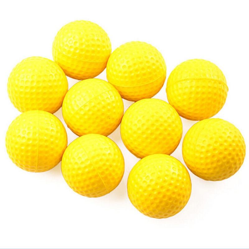 10PCS High Quality Plastic Golf Ball Outdoor Sports Yellow Soft Elastic Golf Balls Golf Practice Training Balls Training Aid