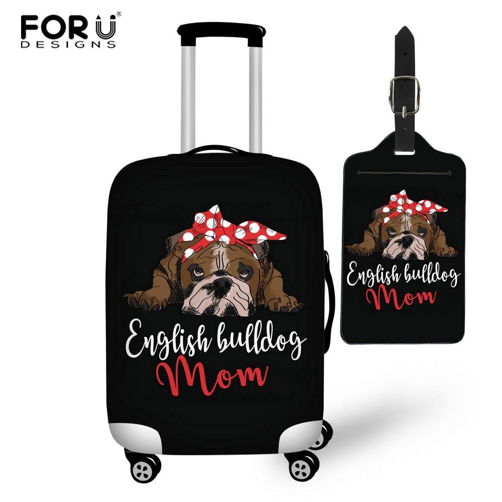 FORUDESIGNS dibujo de Bulldog Elástico grueso cubierta de equipaje para maleta de maletero cubierta protectora a prueba de polvo Vintage Dropship personalizado