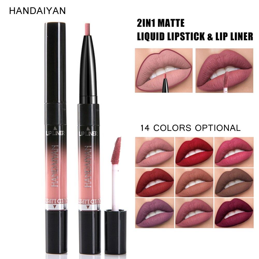 HANDAIYAN-lápiz labial líquido 2 en 1, doble placa de extremo brillante, 14 colores, lápiz labial líquido mate, maquillaje de labios, cosméticos, tinte labial impermeable, labios tatuaje