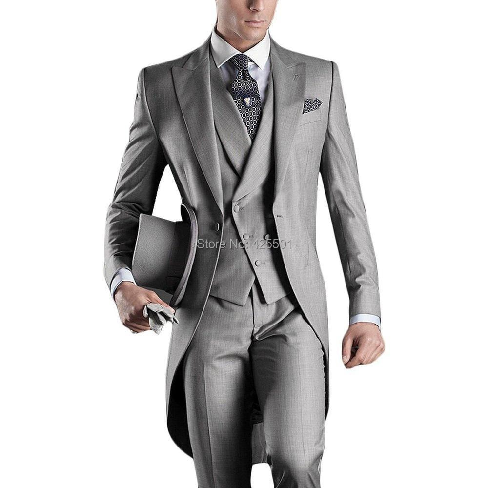 2020 Best Selling Formal Men Suit Tuxedo 3 Pieces Slim Fit Grey Morning Style Dinner Party Tailcoat Wedding Suits Bridegroom