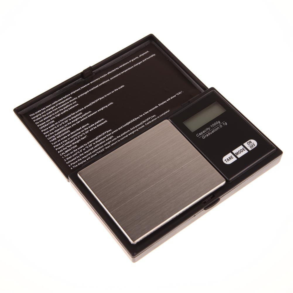 Mini Digital de precisión escala 1000g x 0,1g de oro de la joyería de moneda de plata gramo tamaño de bolsillo de las unidades bolsillo escalas electrónicas