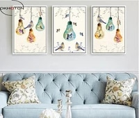 birds and flowers light bulb butterfly unframed 3 piecesset painting modular picture wall art canvas painting