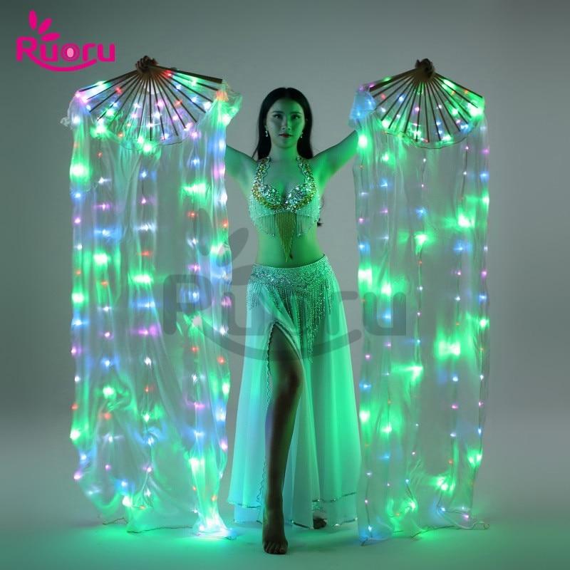 Ruoru-حجاب مروحة حريري LED للرقص الشرقي ، إكسسوارات ملونة للأداء ، حجاب مروحة حرير LED ، أزياء رقص