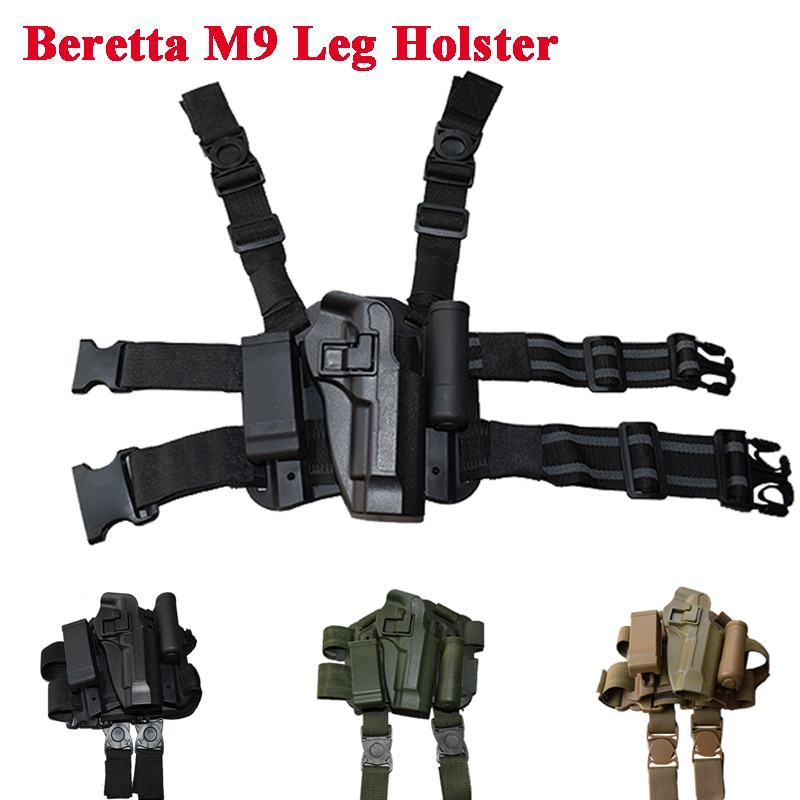 Funda táctica para pierna de pistola Beretta M9 92 96, funda con cargador, funda de transporte para pistola de Paintball Airsoft Sport, desenfundar rápido