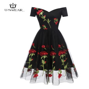 Women Vintage Floral Embroidery Dress Elegant lace dress summer sexy dress ceremony for women ball gown Dress Vestidos