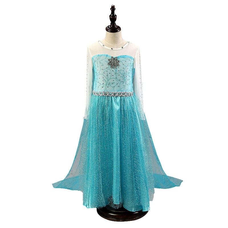 Girls Elsa Princess Dress Kids Summer Crystal Dress Children Snow Queen Elza Halloween Party Cosplay Fancy Vestidos