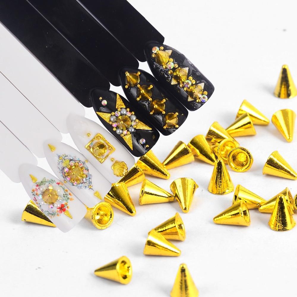 1 Box Punk style Metal Alloy Cone Bullet Head Spike Studs Rivet Salon 3D Nail Art Tips Phone Design Decoration