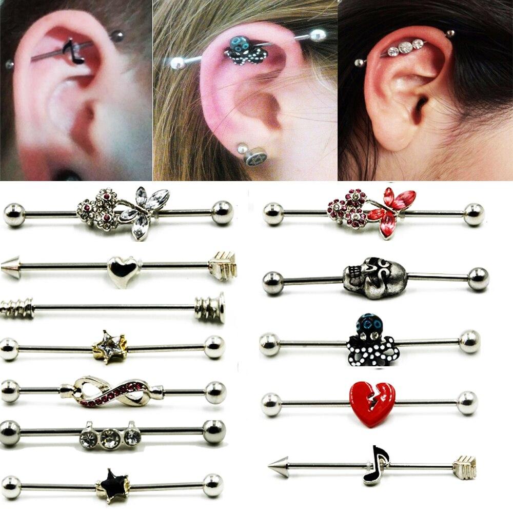 1 pçs venda quente aço cirúrgico industrial barbell anel encantador brinco industrial barbell corpo piercing brincos jóias