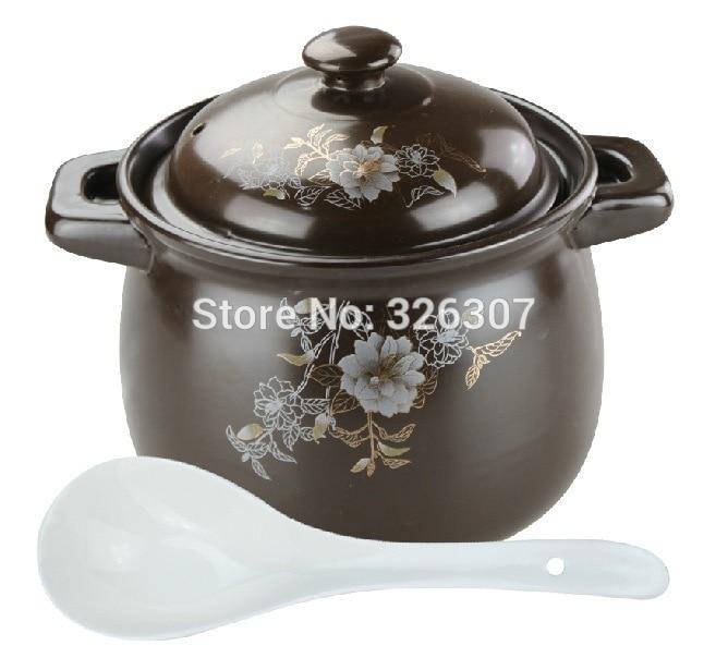 Chino 5.5L 5KGS olla grande de cerámica de arena utensilios de cocina en existencia gachas earthen olla cacerola marmite stew sopera tureen cazuela