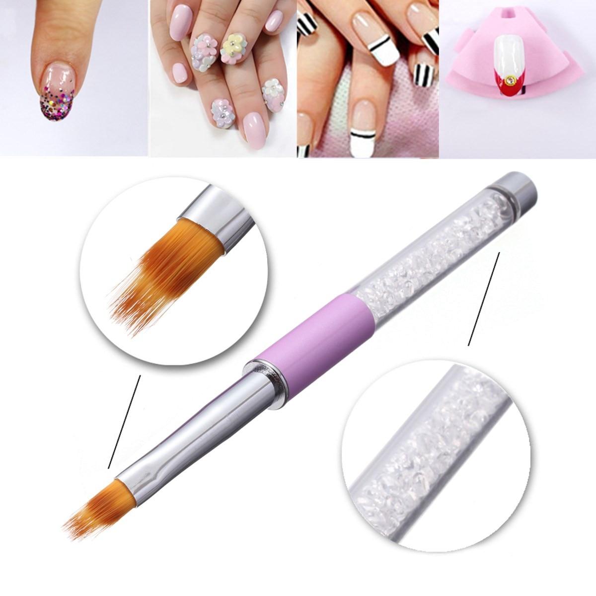 1 шт. УФ-гель-щетка для ногтей с ручкой из страз Нейлоновая Щетка для волос с эффектом омбре инструменты для дизайна ногтей кисть для нанесен...