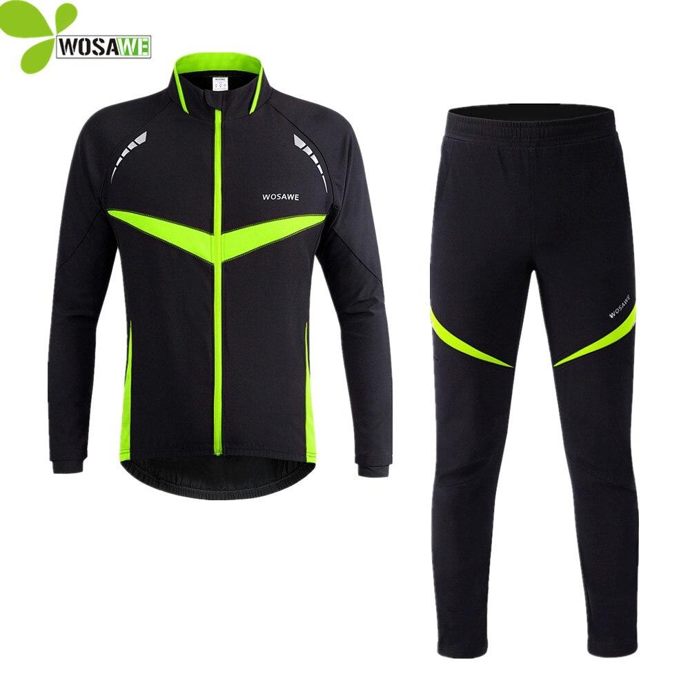 WOSAWE réfléchissant cyclisme ensembles hommes vent hiver pas de polaire vestes costumes à manches longues coupe-vent Kit vêtements de vélo sport manteau ensemble