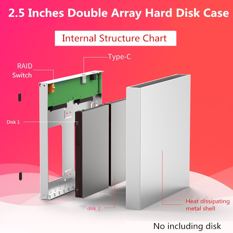 Dual Hard Disk Array Cabinet 2.5'' Hard Disk Array with RAID Function 4 Modes USB3.1 Type C Disk Array Box 2 Bay Data Backup