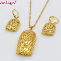 adixyn gold color pendantnecklacesearrings jewelry set for women girls nigeria ethiopian wedding party gifts n06157