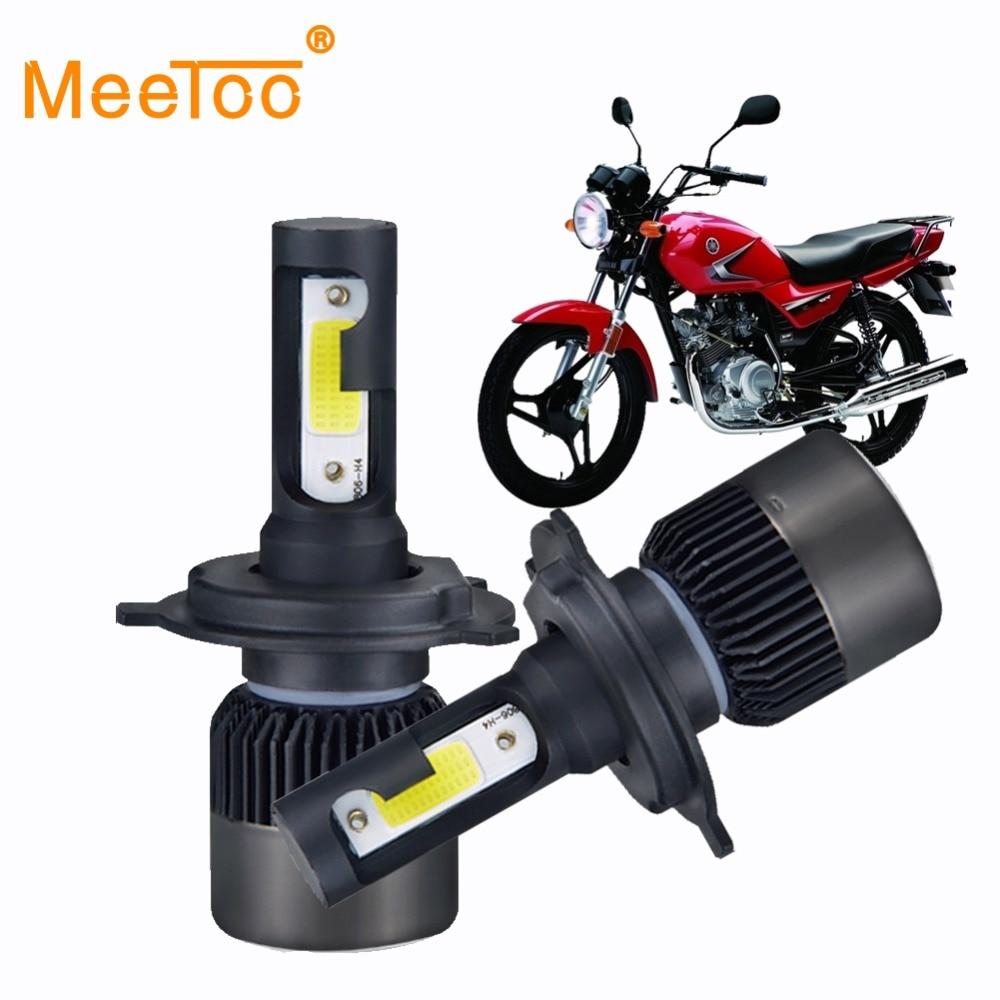 MeeToo 2 uds faro de motocicleta LED H4 HS1 bombillas Bombilla LED H7 Moto 6500K blanco 12V H3 H1 Led para Faro de Moto Scooter
