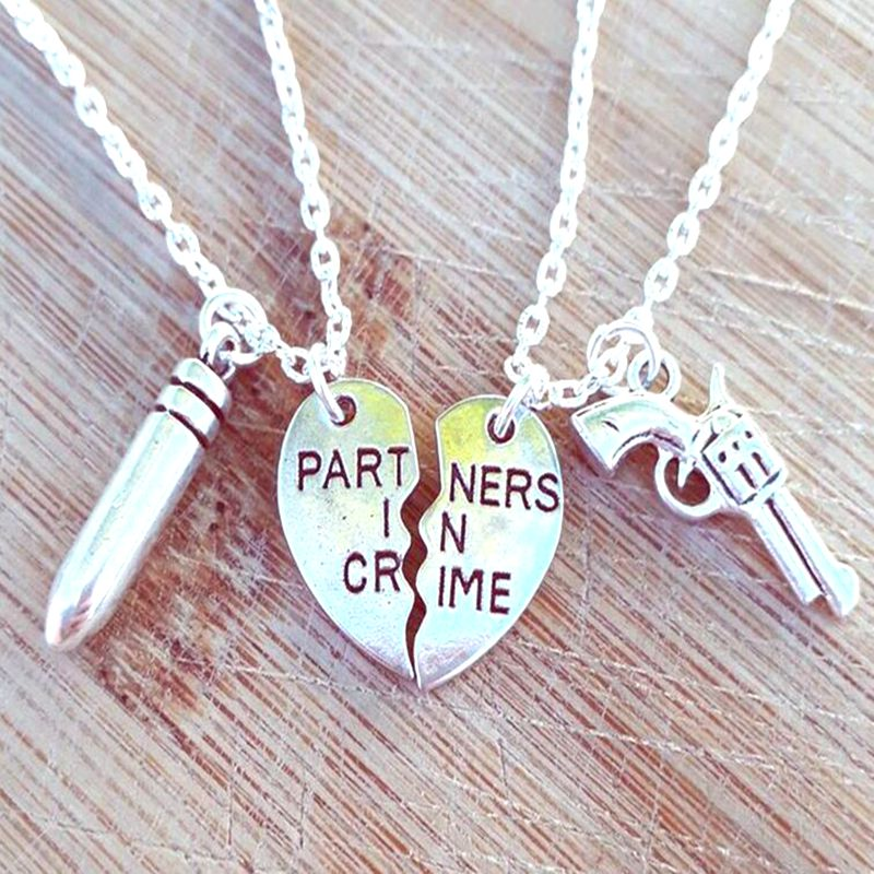 Collar de Corazón Roto parejas arma collar de bala BFF socios en el crimen colgante collar largo bohemio punk joyería de Amistad de regalo