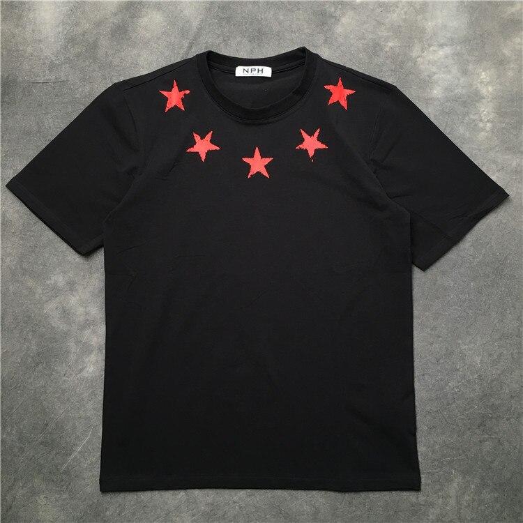 Nueva novedad de 2019, camiseta con escote de estrellas rojas marca de agua para hombres, camiseta de Skateboard de Hip Hop, camisetas de algodón de calle, camiseta kenye # K10