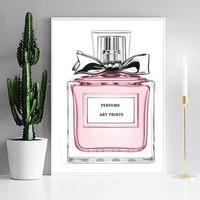 Affiche murale de bouteilles de parfum rose  Pop Art  toile de peinture  affiches et imprimes nordiques  decoration de maison