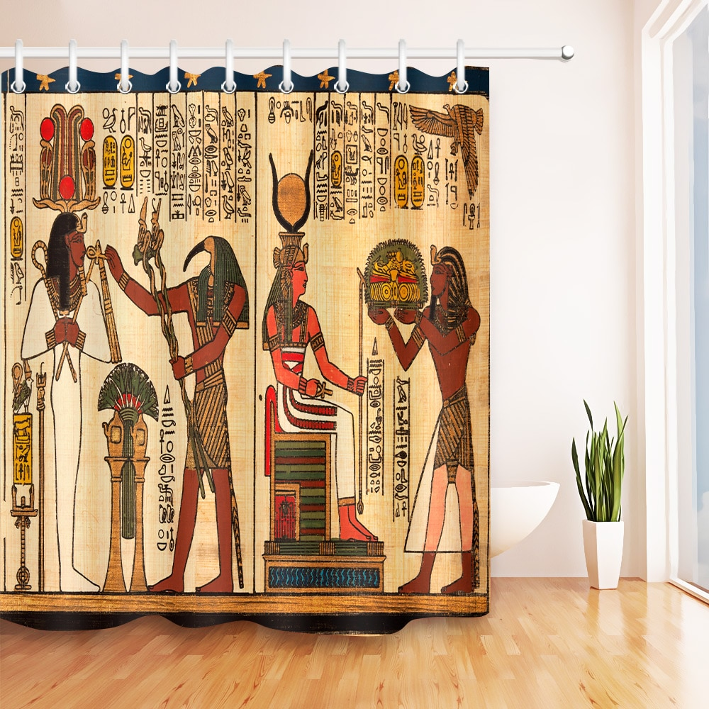 Cortina de ducha africano Antiguo Egipto faraón Khufu pirámide Mural de retrato a prueba de moho impermeable decoración del hogar productos de baño